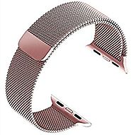 top4cus Double Electroplating Milanese Loop Stainless Steel Replacement iWatch Band with Magnetic Closure Clasp for A...