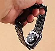 Apple Watch Band, iWatch Stainless Steel Metal Replacement Bands with Durable Folding Clasp + WatchBand Size Remover ...