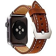 Mkeke Apple Watch Band 38mm iWatch Strap Premium Vintage Genuine Leather Replacement Watchband with Secure Metal Clas...