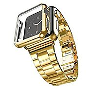 Apple Watch Band with Plated Protect Case, NUJIA Solid Stainless Steel Watch Strap, Metal Replacement Wrist Band with...