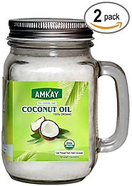 Amkay Organic Coconut Oil Extra Virgin Cold Pressed Unrefined for Hair, Skin, Cooking, Baking ,Health, Beauty, Pets, ...