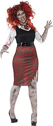 Smiffy's Women's Plus-Size Curves Zombie Schoolgirl