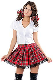 DarlingLove Women's School Uniform Costume, 3-Piece Set