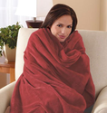 Sunbeam Microplush Throw Camelot Cuddler Heated Electric Warming Heating Blanket, Cranberry Red