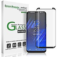 Galaxy S8 Glass Screen Protector, amFilm Full Screen [Case Friendly] Dot Matrix 3D Curved Tempered Glass Screen Prote...