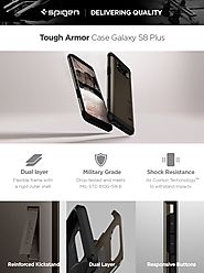 Spigen Tough Armor Galaxy S8 Plus Case with Kickstand and Extreme Heavy Duty Protection and Air Cushion Technology fo...