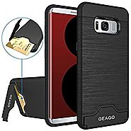 Galaxy S8 Case, OEAGO Samsung Galaxy S8 Case [Card Slot] [Brushed Texture] Heavy Duty Hybrid Dual Layer Wallet Case C...