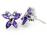 2.05ctw Genuine Amethyst & Solid .925 Sterling Silver Stud Earrings (SJE10001A)