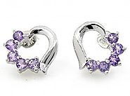 1.50ctw Genuine Amethyst & Solid .925 Sterling Silver Stud Earrings (SJE10002A)