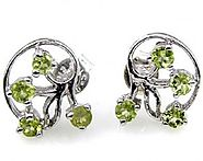 1.20ctw Genuine Peridot & Solid .925 Sterling Silver Stud Earrings (SJE10003P)