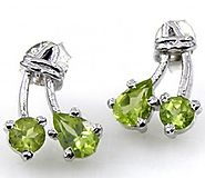 1.70ctw Genuine Peridot & Solid .925 Sterling Silver Stud Earrings (SJE10004P)