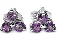 1.00cts Genuine Amethyst & Solid .925 Sterling Silver Stud Earrings (SJE10005A)
