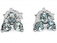 1.00cts Genuine Blue Topaz & Solid .925 Sterling Silver Stud Earrings (SJE10005BT)
