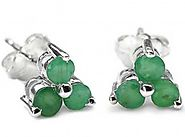 1.00cts Genuine Emerald & Solid .925 Sterling Silver Stud Earrings (SJE10005EMR)