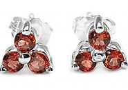 1.00cts Genuine Garnet & Solid .925 Sterling Silver Stud Earrings (SJE10005G)