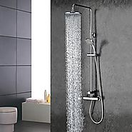 Chrome Finish Contemporary Widespread Two Handles Rainfall Shower Faucet