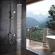 Chrome Finish Contemporary Shower Faucet with Handheld and 8 Inch Showerhead