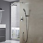 Wall Mount Contemporary Chrome Finish Shower Faucet Set