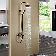 Antique Brass Finish Tub Shower Faucet with 8 inch Shower Head and Hand Shower