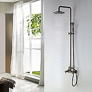Antique Brass Tub Shower Faucet with 8 inch Shower Head and Hand Shower