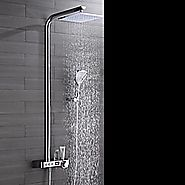 Single Handle Contemporary Ceramic Valve Chrome Brass Rain Shower Faucet with Air Injection Technology Shower Head