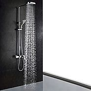 Contemporary Chrome Finish Shower Faucet (Handheld and Showerhead)