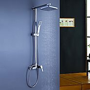 Contemporary Tub Shower Faucet with 8 inch Shower Head and Hand Shower