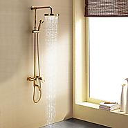 Ti-PVD Wall Mount Rain Handheld Shower Faucet