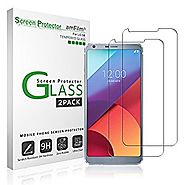 LG G6 Screen Protector Glass, amFilm Tempered Glass Screen Protector for LG G6 2.5D Rounded Edge LGG6 2017 (2-Pack)