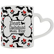Dachshund Gifts Best Daschund Mom Ever Doxie Breed Weiner Dog Heart Handle Gift Coffee Mug Tea Cup Heart Handle