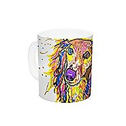 "Kess InHouse Rebecca Fischer ""Leela"" Daschund Ceramic Coffee Mug, 11 oz, Multicolor"