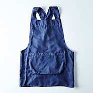 Hand-Embroidered Navy Linen Apron