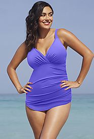 Shore Club Blue Violet Plunge Sarong Front Swimsuit $24.98 (reg. $64) @ Swimsuits For All
