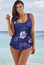 Beach Belle Morning Glory Sarong Front Swimsuit $24.98 (reg. $59) @ Swimsuits For All