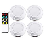 Dewenwils Wireless LED Puck Light with Remote Control (Timer+ Dimmer), 3000K Warm White Stick-on Tap lights Battery O...