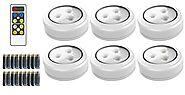 Brilliant Evolution BRRC135 Wireless LED Puck Light 6 Pack With Remote Control - Operates On 3 AA Batteries - Kitchen...
