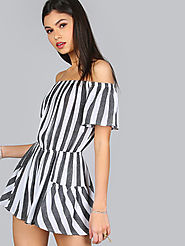 Off Shoulder Mixed Stripe Romper $16 @ SheIn