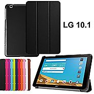 LG G PAD X 10.1 V930 Leather Folio Case,LG G PAD X 10.1 inch Cover,Folding case Slim PU leather Cover for LG G Pad 2 ...