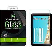 LG G Pad X 10.1 Screen Protector, Dmax Armor [Tempered Glass] 0.3mm 9H Hardness, Anti-Scratch, Anti-Fingerprint, Bubb...