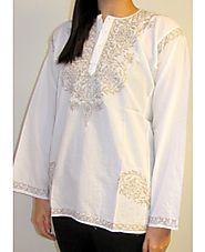 Cotton Tunic Top Kurti White & Brown at YoursElegantly