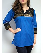 Buy Beautiful Blue Designer Cotton Tunic at Affordable Price