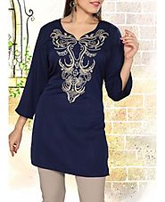 Women's Navy Blue Tunic Kurti