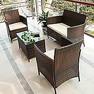 Merax 4 PCS Patio Rattan Furniture Set Cushioned Outdoor Garden Wicker Rattan furniture with Beige Cushion (Brown-NO.2)