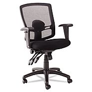 Alera Etros Series Petite Mid-Back Multifunction Mesh Chair, Black
