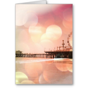 Santa Monica Pier - Sparkling Pink Photo Edit Greeting Card from Zazzle.com