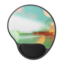 Santa Monica Pier Green Orange Sparkles Edit Gel Mouse Mats