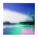 Santa Monica Pier - Blue Green Photo Edit Tile from Zazzle.com