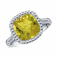 Peridot Cushion Cut Gemstone Diamond Ring in 14K White Gold (7mm)