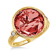 Garnet Bezel Gemstone Ring with Texture in 14K Yellow Gold