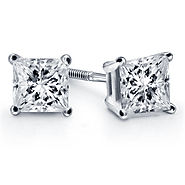 Prong Set Princess Diamond Stud Earrings in Platinum